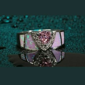 Pretty! Pink Topaz, Zircon, & Fire Opal sz 6 1/4💍